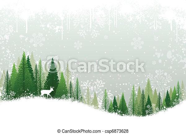 Schneeiger Winterwald Hintergrund - csp6873628