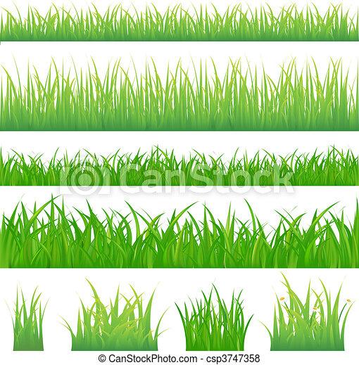 Vier Hintergründe mit grünem Gras und vier Tuft Gras - csp3747358
