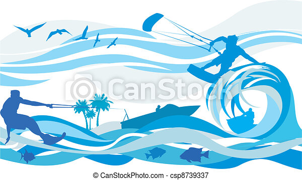 Wassersport - Drachensurfen, Wasser - csp8739337