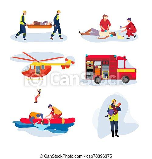 weißes, charaktere, leute, vektor, satz, abbildung, mannschaft, hilfe, karikatur, rettung, freigestellt, notfall - csp78396375