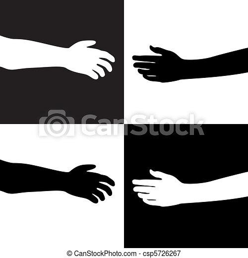Schwarze und weiße Hände - csp5726267