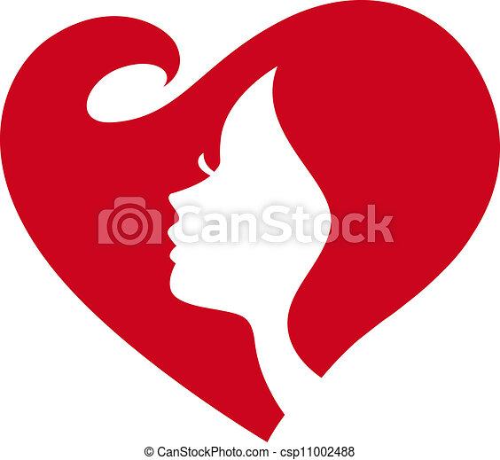 Weibliche Silhouette rotes Herz - csp11002488