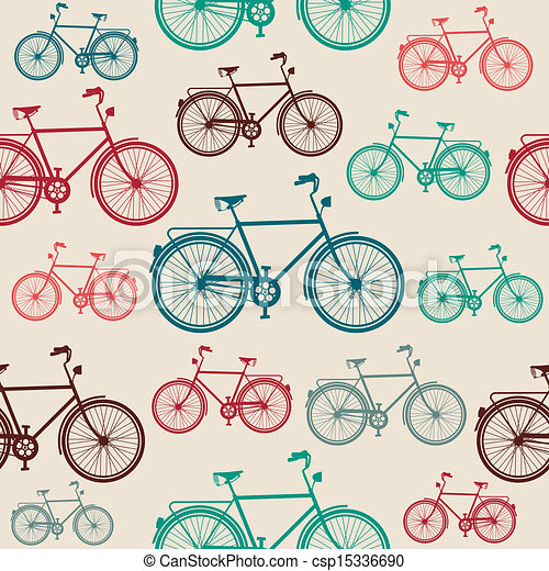 weinlese, fahrrad, pattern., seamless, elemente - csp15336690