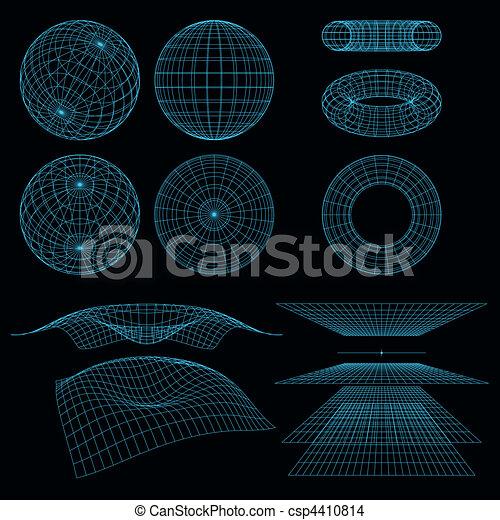 wireframe, symbols., mathematik, vektor, perspektive, illustration., geometrie - csp4410814