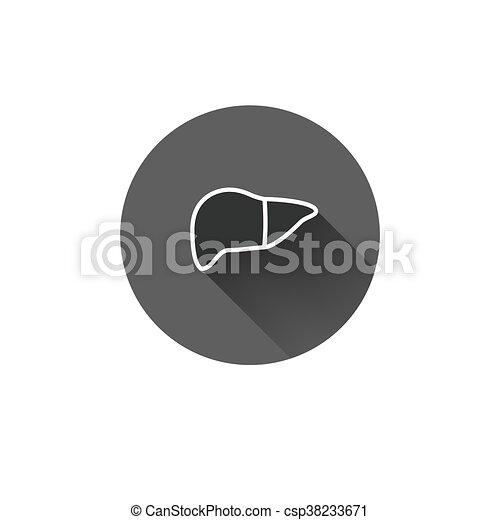 Flat long shadow Leber Icon - csp38233671