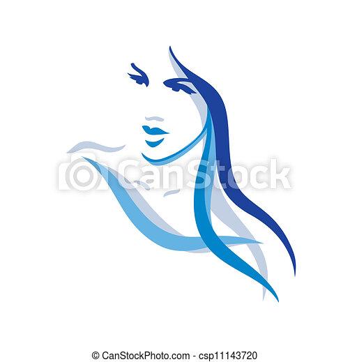 Wunderschöne Frau mit langen Haaren - csp11143720