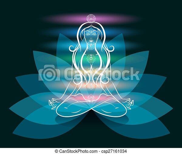 Yoga Meditation Frau Lotus Silhouette - csp27161034