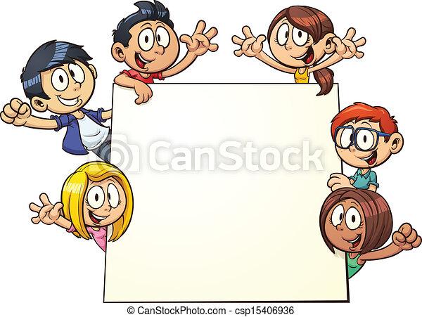 Kinder mit Schild - csp15406936