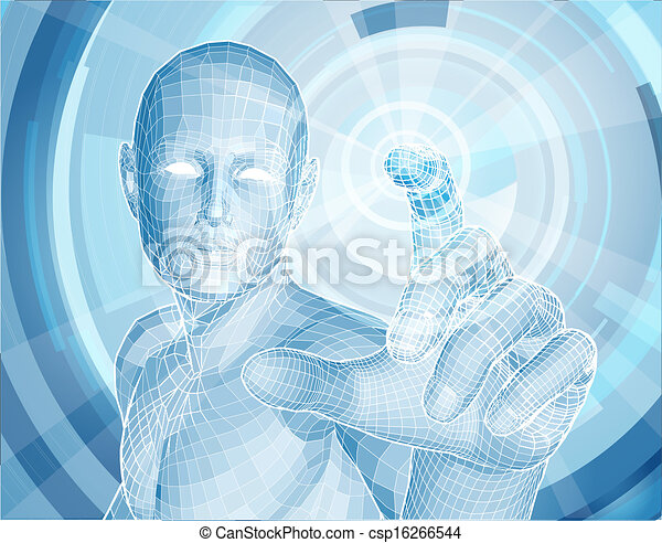 Zukunftstechnologie 3D app-Konzept. - csp16266544