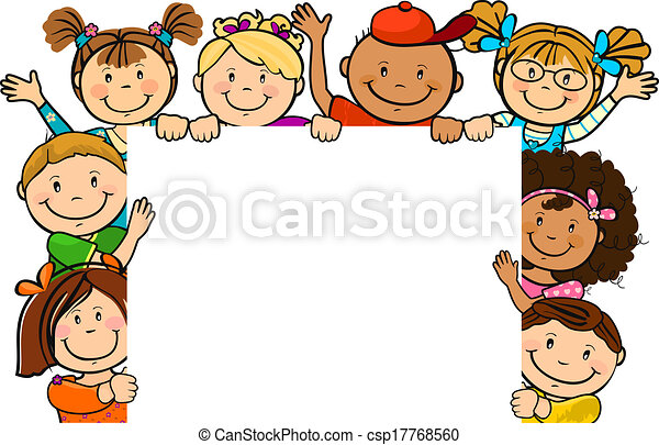 Kinder zusammen mit Quadrat - csp17768560