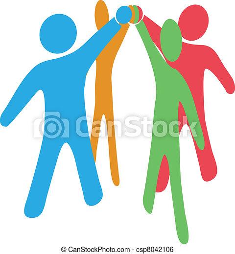 zusammenarbeiten, beitreten, leute, hände, zusammen, mannschaft - csp8042106